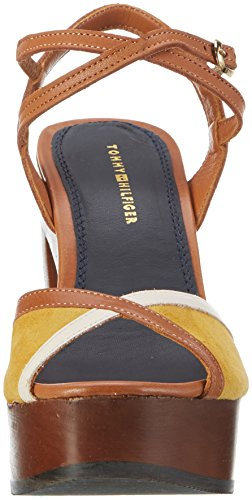 Tommy Hilfiger P1285aige 1c, Sandalias con Cuña Para Mujer Marrón (Saddle-yellow-whisper White 901)