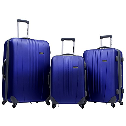 Luggage Piece Wheeled Set 3 (Traveler's Choice Tasmania Polycarbonate Expandable 8-Wheel Spinner 3-Piece Luggage Set, Navy (21