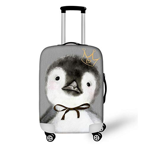 OSVINO Cartoon Animal Suitcase Protector Dustproof 18-28 Inches Luggage Cover, Penguin/Grey, S: for 18″-20″ Suitcase