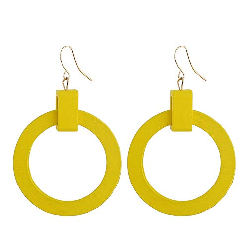 (Vintage Geometric Round Circle Wood Dangle Earrings For Women Girls Jewelry Gift)