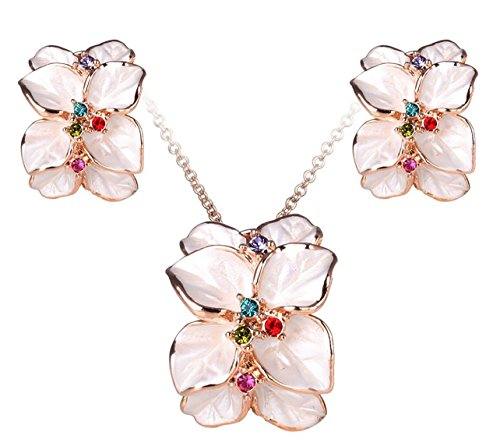 [Women's Jewelry Set Flower Earrings and Pendant Necklace with Crystal Jewelry Set] (Labor Day Parade Costumes For Sale)