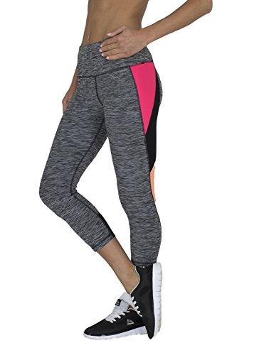 RBX Active womens Striated Color Block Printed Capri Leggings,Black / Pink / Orange Combo,Medium (Mustache Pantyhose)