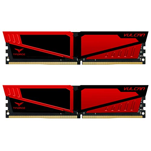 TEAMGROUP T-Force Vulcan DDR4 16 GB (2x8GB) 2400MHz (PC4-19200) CL16 Desktop Memory Module ram (Red)