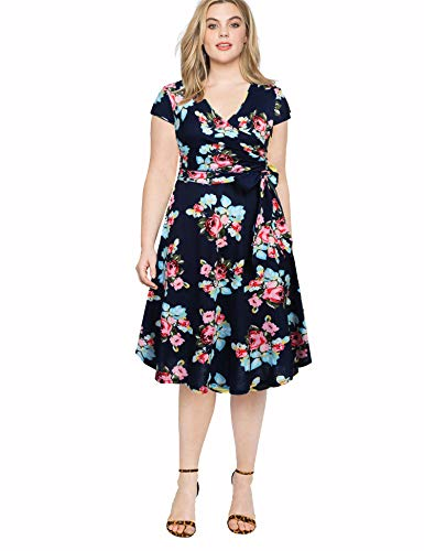 (Ivicoer Women's Summer Criss-Cross V-Neck Cap Half Sleeve Floral Print Casual Work Party Swing Dress Navy Blue Peony L with Belt)