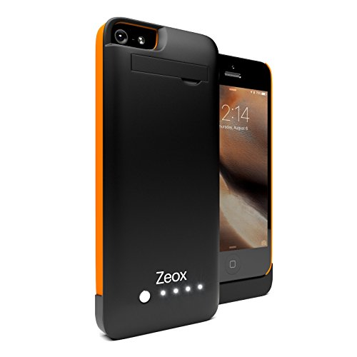 iPhone 5S Battery Case, Zeox iPhone 5/ iPhone 5S Battery Case External Power Protective Cover 2200mAh/ Rechargeable Power Bank For All Versions Of Apple iPhone 5/ iPhone 5S Extended Battery Pack/Backup Battery Case With Shockabsorabant Bumpers For iPhone 5/iPhone 5S (Black/Orange)