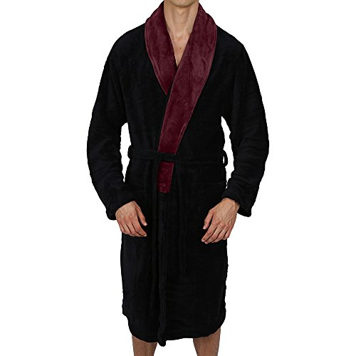 Regency New York Coral Fleece Robe (Small/Medium, Black Contrast Burgundy Collar) -