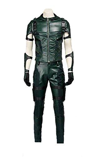 Hot TV Series Men's Archer Costume Green Faux Leather Men's Halloween Costume (US Men-L, -