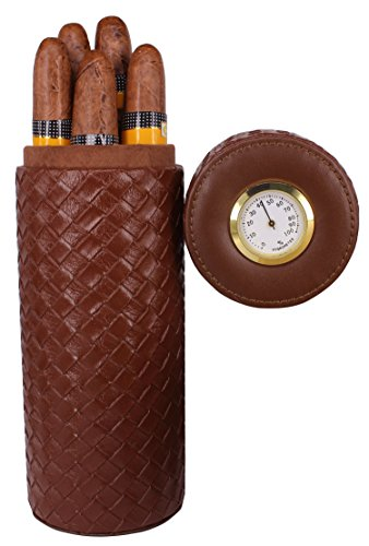 AMANCY Quality Brown Leather Cigar Humidor Case, Cigars Jar Tube with Hygrometer (Holding Up to 5 Cigars)