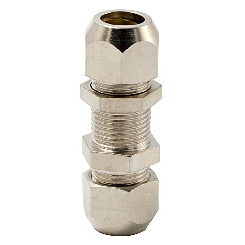 Legines Nickel Plated Brass Compression Tube Fitting, Bulkhead Union, Tube OD, Pack of 2 (8mm)