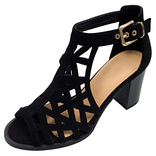 TravelNut Best Prime Fashion Summer Dress Fat Heel Buckled Ankle Strap Sandal Shoe for Women Teen Girls (Black Size 8)