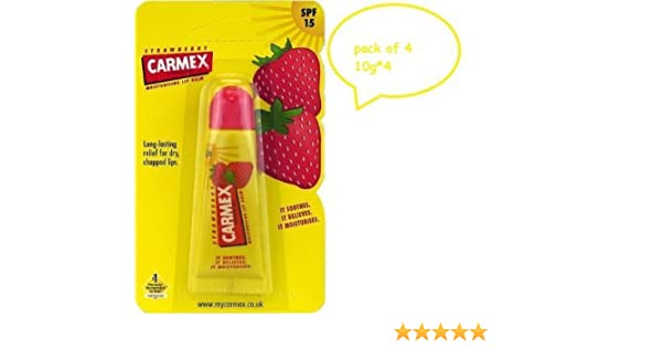 Carmex Strawberry Flavor Moisturizing Lip Balm Tube SPF 15 10gX4-FREE UK SHIP... by Carmex: Amazon.es: Belleza