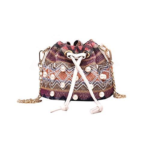 Handbag Shoulder Bags,SIN+MON Women Straw Woven Pearl Messenger Bag Summer Chain Strap Shoulder Bag Satchel Bags Purse