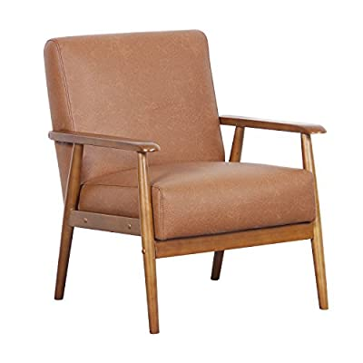"Pulaski DS-D030003-329 Wood Frame Faux Leather Accent Chair, 25.38"" x 28.0"" x 30.5"", Cognac Brown - Classic mid-century modern chair design, updated with plush foam padding for comfort Comfortable, stylish accent seating that works in any room of the home Cognac brown faux leather adds a vintage feel with modern durability and easy maintenance - living-room-furniture, living-room, accent-chairs - 41K%2B JYK1aL. SS400  -"