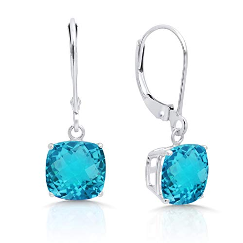 14k White Gold Blue Topaz Earrings - 14k White Gold Swiss Blue Topaz Dangle Leverback Earrings (8mm)