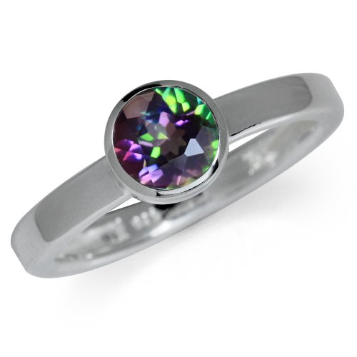 Mystic Fire Topaz 925 Sterling Silver Bezel Set Solitaire Ring Size 6