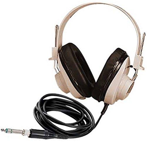 Califone 2924AV 2924AV Deluxe Mono Headphones, White/Black - Mono Headphone Replaceable Coiled Cord