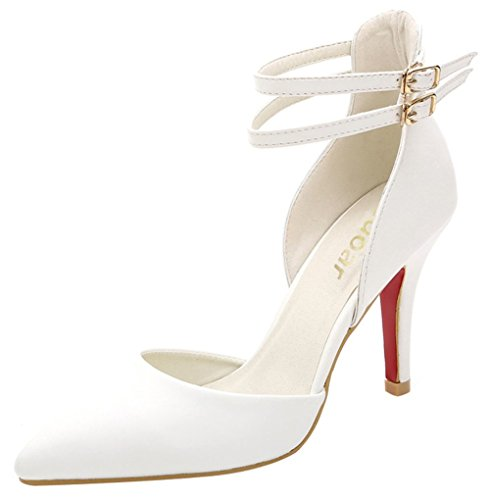 Guoar Women's Pointed Toe Stiletto Heels Ankle Strap Pumps Shoes For Party Dress Prom White US 8