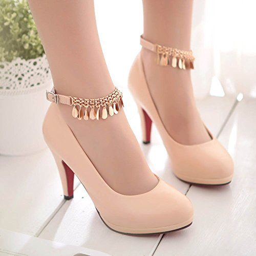 CHFSO Womens New Round Toe Ankle Strap Buckle Metal Chain Low Cut Pumps Shoes Apricot hdQobg