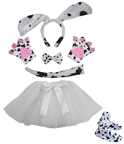 Petitebella Dog Headband Bowtie Tail Glove Shoes Tutu Girl 6pc Costume (One Size, Dalmatians) -