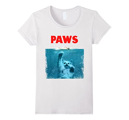 [Women's Paws Kitten Meow Parody Funny Tshirt Cat Lover Gifts Large White] (Father Daughter Halloween Costumes)