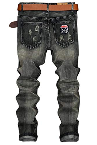 Patchwork Slim Vintage Estilo Recta Grau Jeans Skinny Ripped Fit Distressed Regular Pierna Pants Denim Hombre Jeans xapYUqwp
