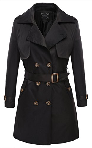 Valuker Women's Double Breasted Long Trench Coat with Belt Black L