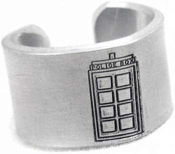 Handmade Whovian Jewelry Doctor Who Tardis Adjustable Aluminum Ring