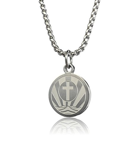 High Polish Prayer Box Charm (Rough Waters Necklace by Pendant Sports. Presented in Black Velvet Gift Box. Crafted in Stainless Steel With an Inspiring Luke 1:37 Bible Verse on Back. Also Available in Sports Designs.)