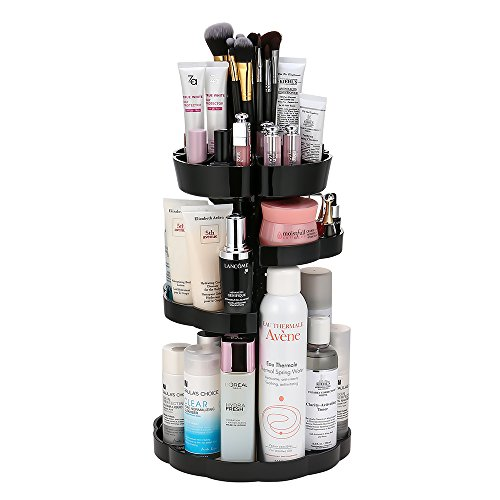 Jerrybox Makeup Organizer, 360° Rotation Beauty Organizer Cosmetic Storage Drawers, Large Capacity Caddy Shelf Organizers, Fits Different Types of Cosmetics, Black