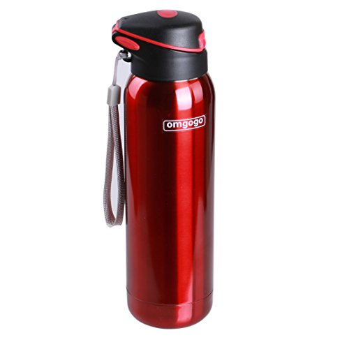 (Omgogo Water Bottle,Stainless Steel Water Bottle,Double Wall Insulated,Thermos Water Bottle With Straw,16oz (Red))
