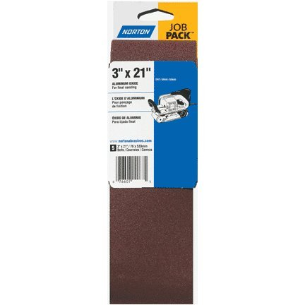 Norton 07660701745 Portable Abrasive Belt, Cotton Fiber Backing, Aluminum Oxide, 24