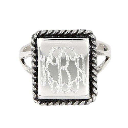 Sterling Silver Polished Monogram Custom Engrave Rectangular Shape Oxidized Rope Edge Signet Ring (9) (Ring Shape Rectangular)