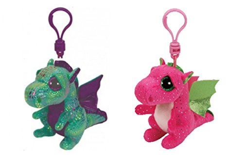 Set Of 2 Ty Beanie Boos Dragons  Darla And Cinder 3 5  Plushes Clips