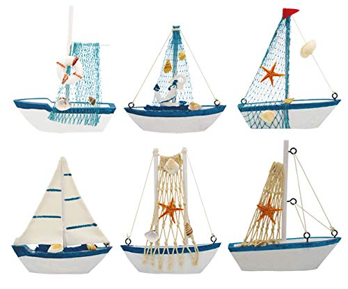 Wisonique Mini Sailing Boat Model, 6 Pcs Vintage Nautical Handmade Wooden Sailboat Decoration, Mini Decorative Sailboat Model for Home Ornament