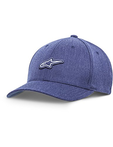 Alpinestars Men's Curved Bill Structured Crown Flex Back Logo Patch Flexfit Hat, Feast Navy Heather Large/X-Large
