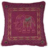 Indian Tapestry Chenille Jacquard Elephant Cushion Cover Sofa Throw Pillow Case Home Bedroom Decor 56cm x 56cm Cushion Cover Aubergine / Purple