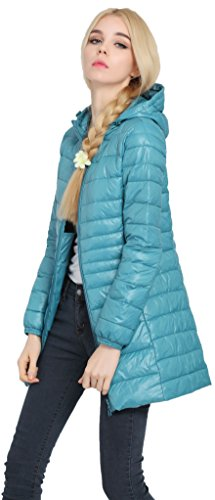 Windbreaker Hooded Women Packable Snow Long Light Salamaya Pillow Jacket Cappotto Casual Ultra Puffer Winter Down Outdoor Sci Blu w7dqCI