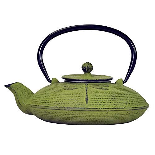 Primula PCI-5228 Green Dragonfly Japanese Tetsubin Cast Iron Teapot Stainless Steel Infuser for Loose Leaf Tea, Durable Construction, Enameled Interior, 26 oz