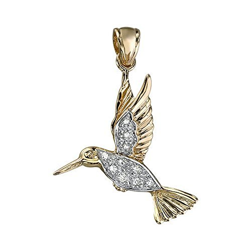 14K Yellow Gold Hummingbird Diamond Pendant