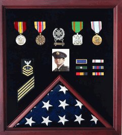 Flag-Photo-and-Medals-Display-Case-Made-Out-of-Real-Cherry-Wood-and-Will-Hold-a-3ft-X-5-Ft-Flag-and-a-Photo-Fast-Delivery-Hand-Made-By-Veterans