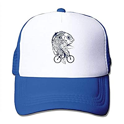 Unisex Trucker Hat Fish On Bike Fish Art Women Adjustable Mesh Cap Latest Baseball Caps