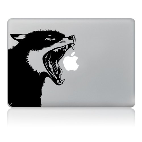 Vati Hojas Extra/íble Lobo Vinilo Adhesivo Piel Arte Negro para Apple MacBook Pro Aire Mac 13/15 Pulgadas//Unibody 13/15/Pulgadas Port/átil