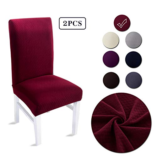 LAIKEUP Dining Room Chair Covers Set of 2 Wine Red Spandex Stretch Fabric Dining Chair Seat Protector Removable Washable Elastic Chair Slipcover for Home,Hotels,Wedding,Banquet,Party