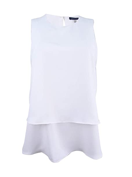 b4ed15ba Tommy Hilfiger Womens Layered Sleeveless Blouse White L at Amazon Women's  Clothing store: