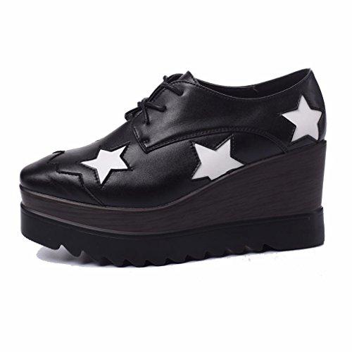Cuero Cuadrada con Cuña en Negro2 Mujer Zapatos Estrellas Puntera de Moonwalker Sw17Rqn