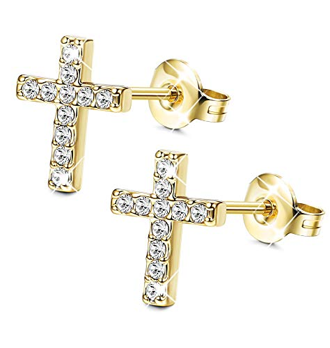 (Sllaiss Gold Plated Earring Cross Stud Earrings for Women Men Mini Cross Stud Earring Sets Made with Swarovski Crystals)