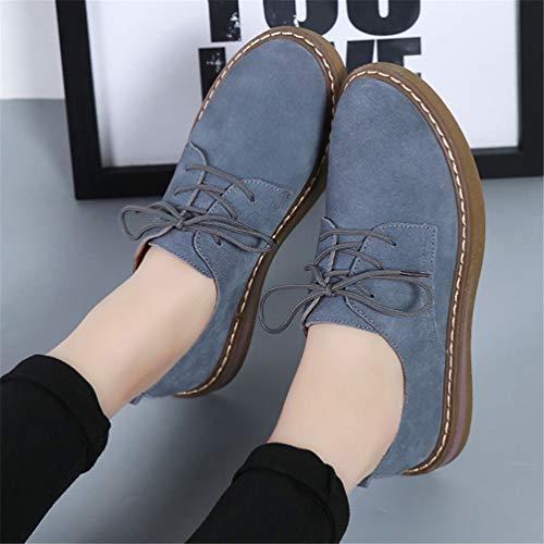 Automne Rondes Mocassins de Cuir Femmes Oxford Daim Bateaux Plat Sport Flats de Chaussures Bottes Bleu Femmes Orteils Chaussures 989 Lacets Hiver Chaussures qIaxFOHCw