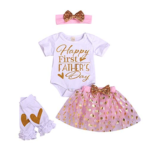 Fathers Day Clothing for Babies Girl Letter Romper Tulle Bow Sequin Skirt Hair Band Leg Warmer Outfit Pink