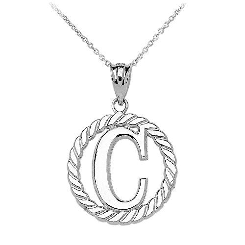 """Collier Femme Pendentif 10 Ct Or Blanc """"C"""" Initiale À Corde Cercle (Livré avec une 45cm Chaîne)"""