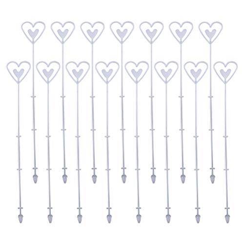 Floral Heart Card - Supvox 80pcs Flower Tag Holder Floral Picks Heart Shape Flower Inserting Tag Holder Plastic Card Labels Clips for Weddings Flower Shop(White)